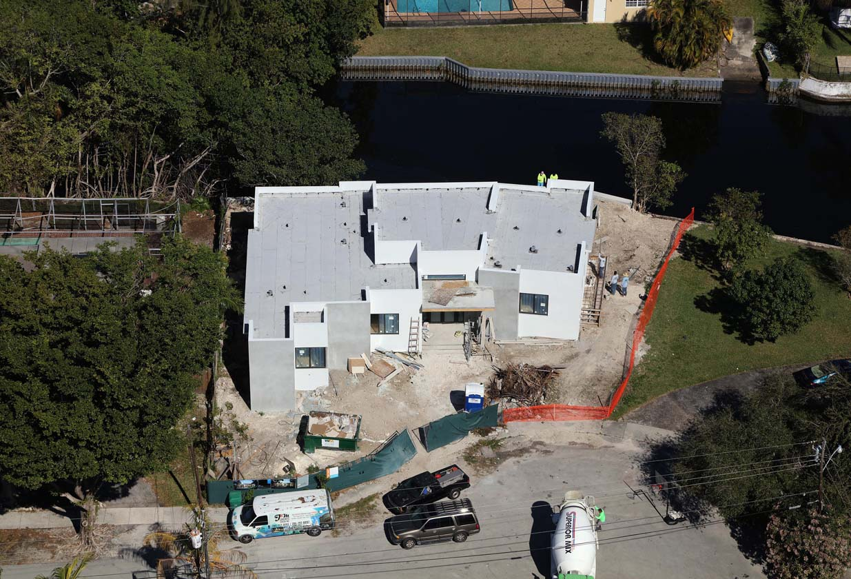 house in construction from above