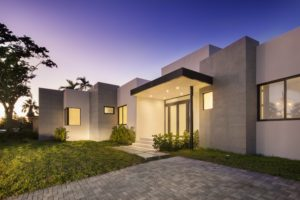 Miami Home Architecture Construction Residence Builder Contractor driveway landscape night lighting