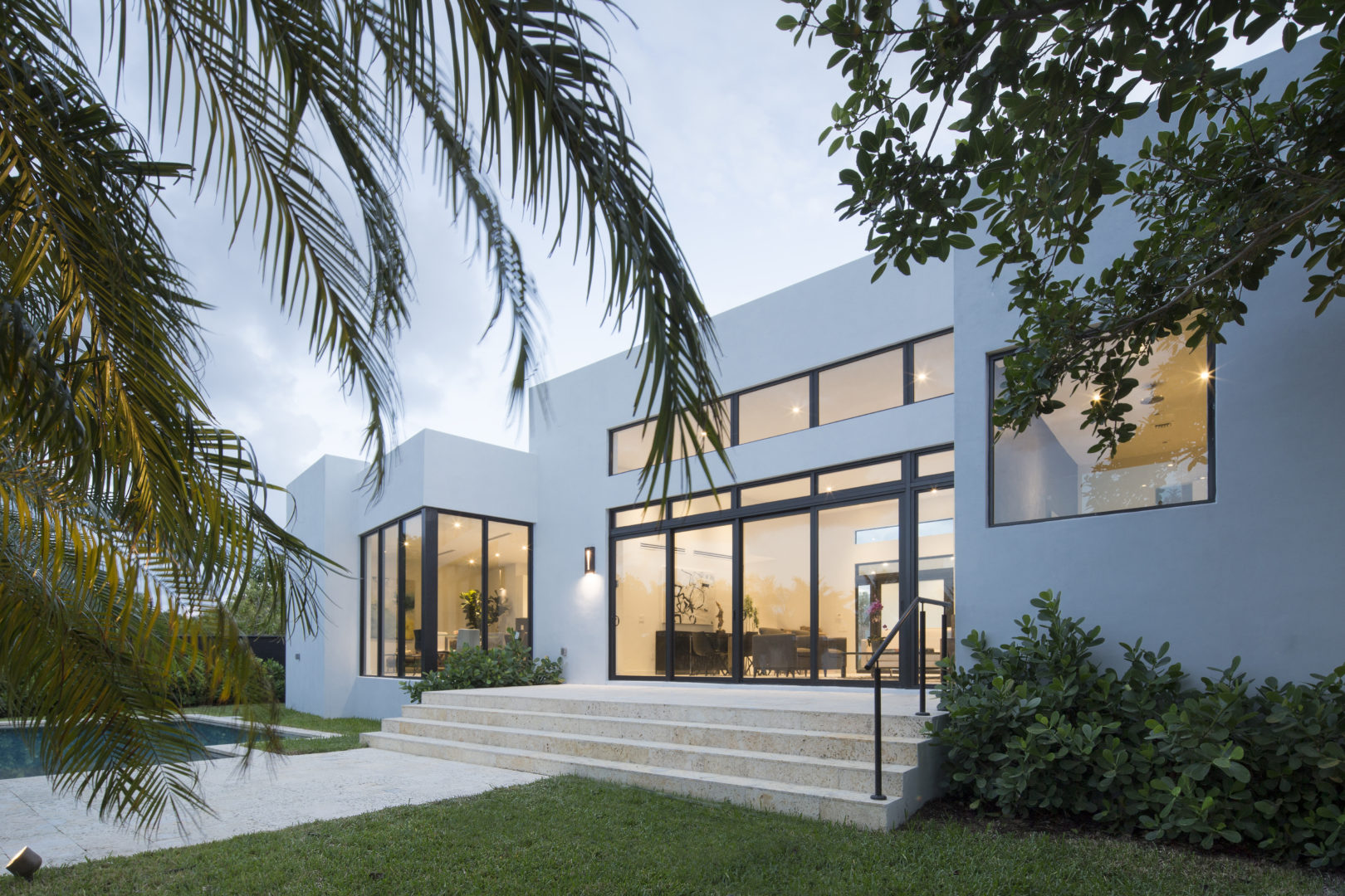 Miami Home Architecture Construction Residence Builder Contractor pool landscape steps coral stone water