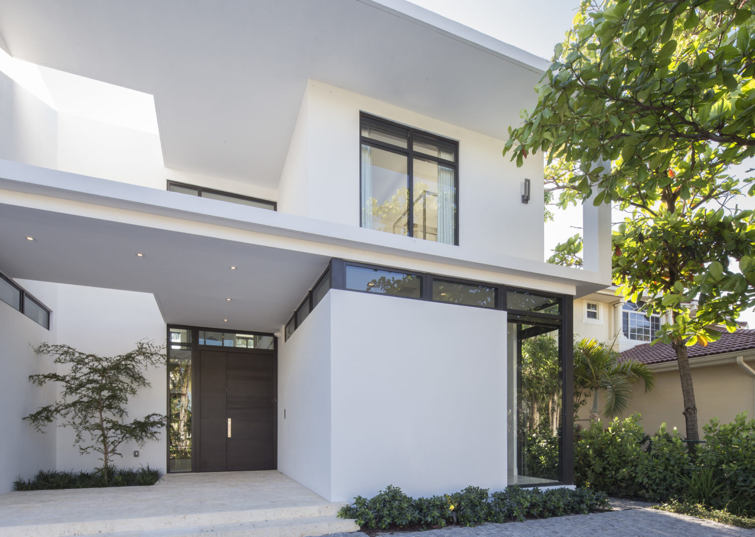 Golden Beach Residence High-end Builder Contractor Miami Modern Luxury Facade Garage Landscape Driveway Entry