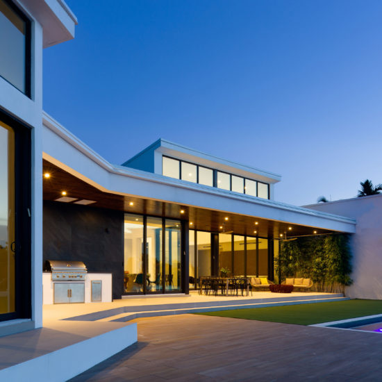 Luxury modern construction builder home residential pool landscape waterfront deck