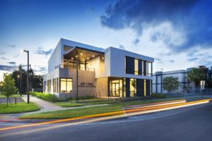 Office Building Commercial Treo SDH North Miami Beach Florida Construction night landscape light volumes street view
