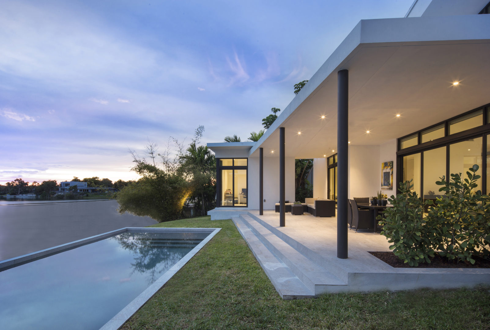 Skylake North Miami Beach Florida Construction Architecture Modern Back Facade Lake Waterfront Pool Columns Lighting