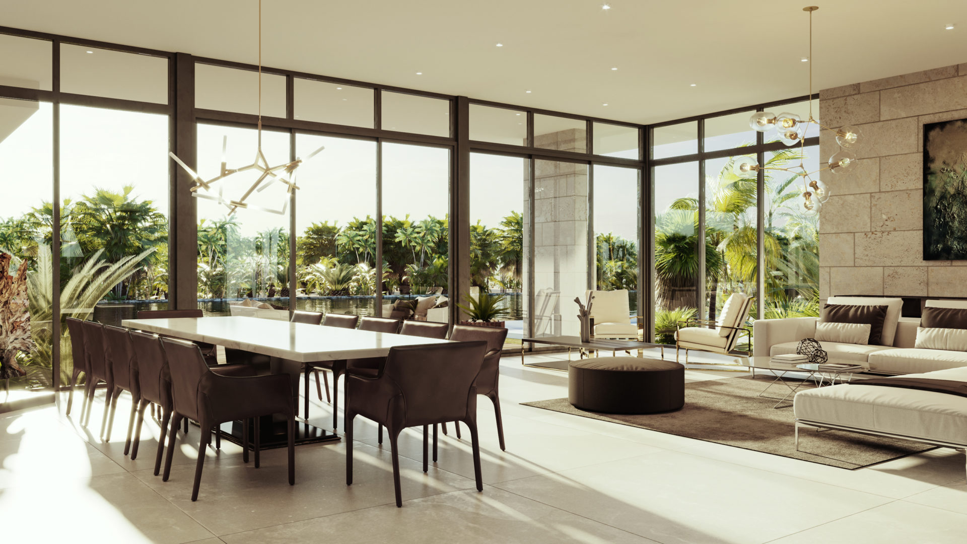 Bay Harbor Islands Miami Florida Builder High-end Custom Home render living dining room