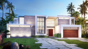 Golden Beach High-end custom home residence modern architect design render driveway