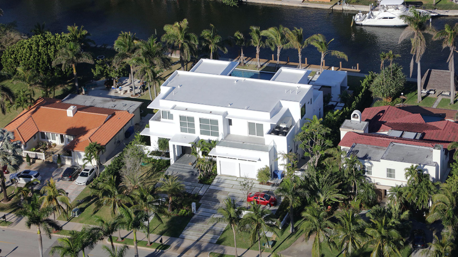 Golden Beach Miami Architecture Aerial Waterfront Luxury Contemporary Pool Driveway Landscape