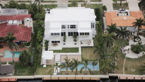 Golden Beach Miami Architecture Aerial Waterfront Luxury Contemporary Pool Driveway Landscape dock deck