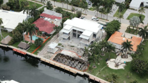 Golden Beach Miami Architecture Aerial Waterfront Luxury Contemporary Pool Driveway Landscape dock deck shell structure