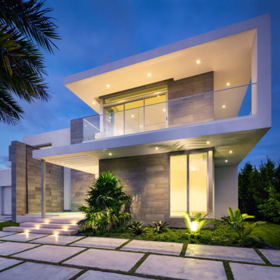 Golden Beach House High-end builder contractor construction miami waterfront pool night light landscape