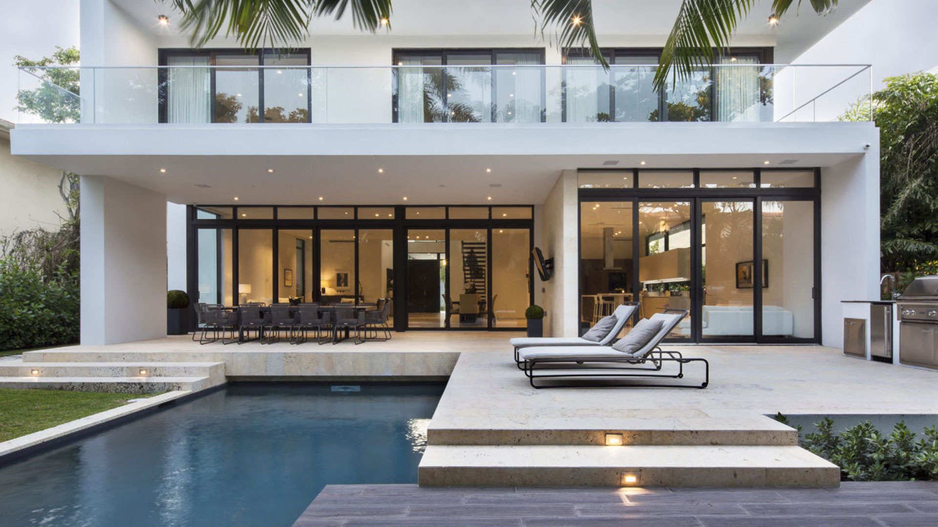 Golden Beach Residence High-end Builder Contractor Miami Modern Luxury Facade pool miami deck stone steps light