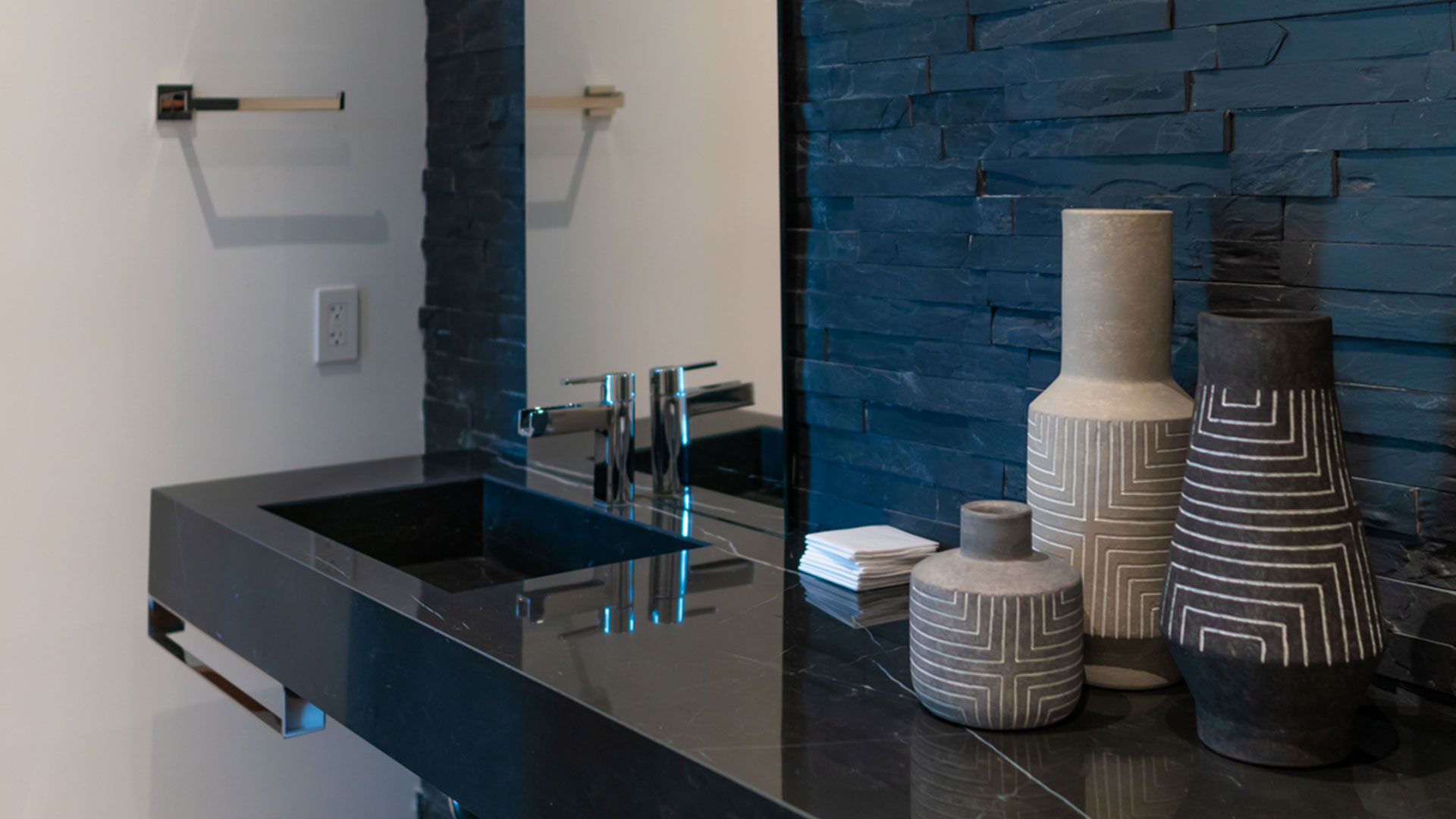 Bal Harbour Tropical Residence High-end Builder Contractor Miami Florida Luxury powder bathroom interior design floating vanity decoration