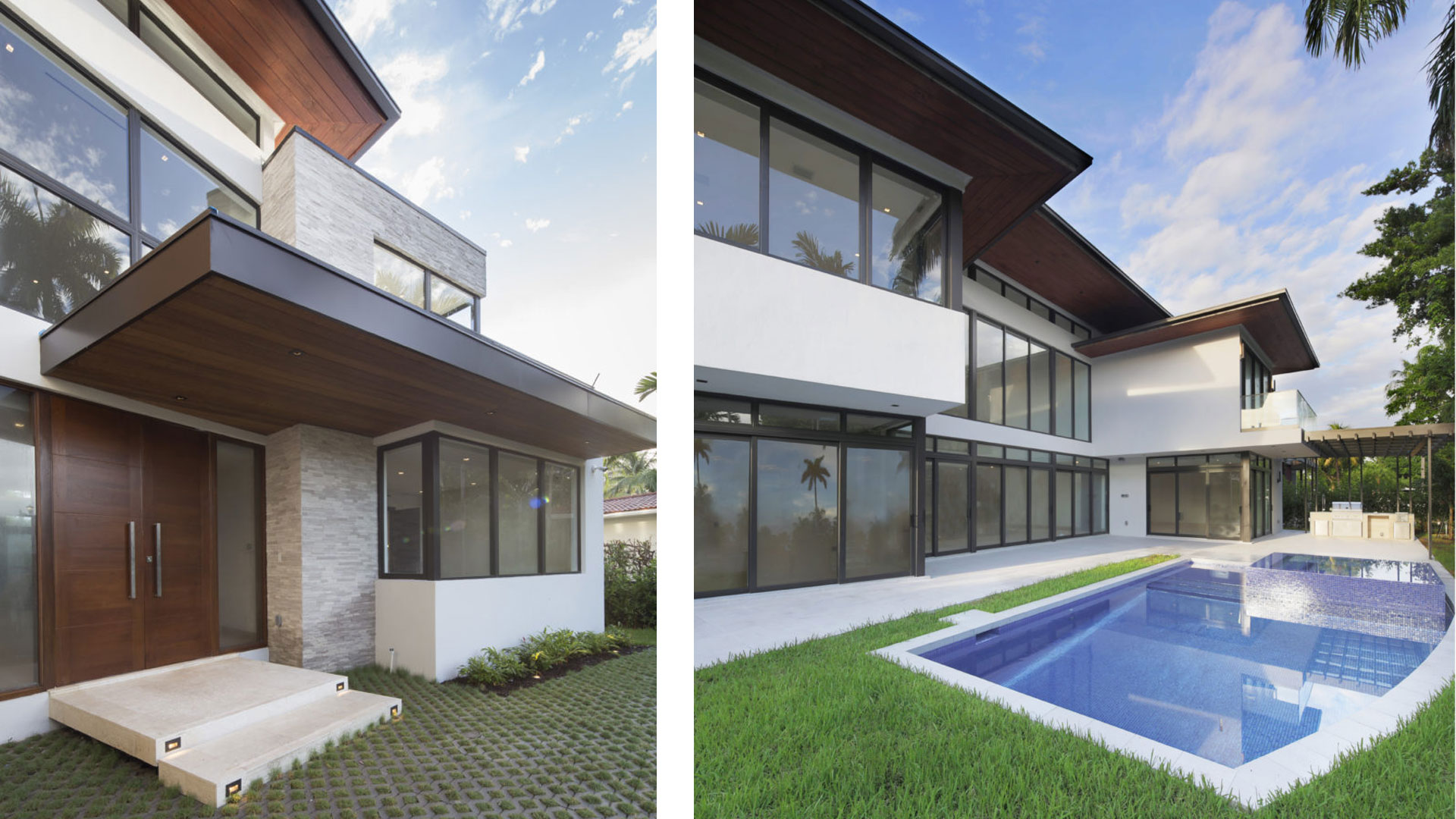 Bal Harbour Tropical Residence Modern High-end Construction pavers concrete ipe wood facade stone natural eyebrow balcony glass railing