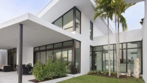 Skylake North Miami Beach Florida Construction Architecture Modern Back Facade Lake Waterfront Pool Columns Lighting planter